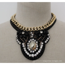 Ladies Bead Crystal Fashion Charm Chunky Costume Choker Necklace (JE0016)