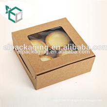 Boîte à gâteaux rectangulaire en papier kraft avec fenêtre