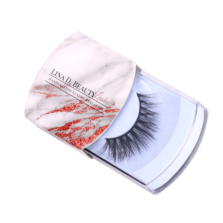 Custom Marble Printed Eyelash Box With Sleeve