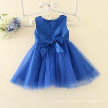 OEM azul 100 unids MOQ para niñas en 3-12Y vestidos de partido de la escuela colores azul marino vestidos bordado comercio aseguramiento venta al por mayor