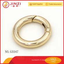 Vente en gros d'alliage de zinc solide anneau ouvert pour ceintures de sacs