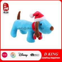Cão relativo à promoção do presente do Natal enchido brinquedo macio do luxuoso no chapéu do Xmas