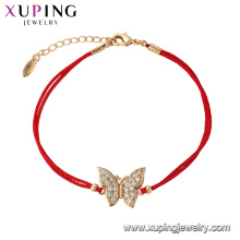 75627 Xuping Hot Sale popular Women gold plated original design red rope Bracelet