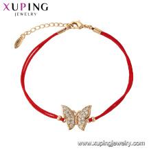 75627 Xuping Venda Quente popular Mulheres banhado a ouro projeto original pulseira corda vermelha