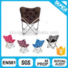Bonita cadeira de borboleta dobrável em moldura de metal