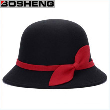 Bowknot Mulheres Vintage Cloche Lã Mistura Bowler Hat