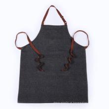 avental preto denim trança com bolsos laterais adequados para adultos