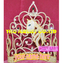 2015 alibaba fashionable horse crystal jewelry tiara