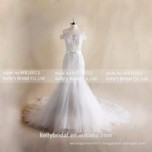 MB16013 Off-shoulder Gorgeous Robes de mariée Cheap Plus Size Mermaid Gowns Pour Mariage Avec Lace Up Back