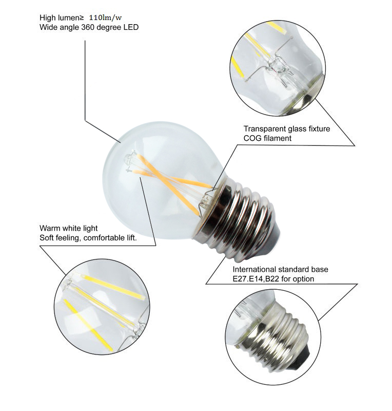 Global 2W LED Filament Bulb G45