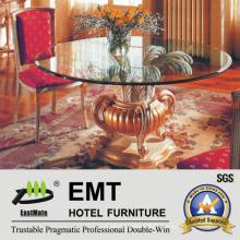 Table de salle à manger en bois de table de table en verre (EMT-FD05)