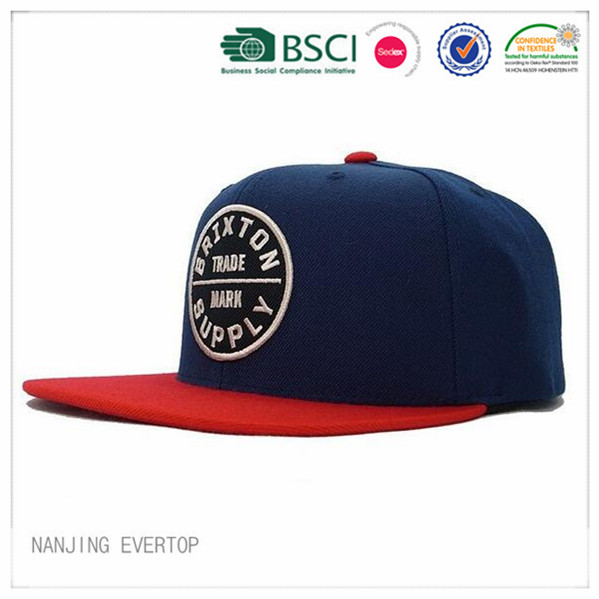 Mens Navy Applique Flat Bill Snapback Cap