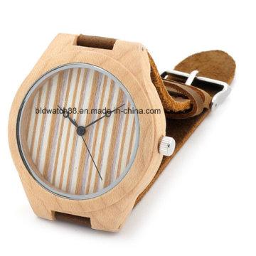 Custom Handmade Bamboo Wood Watch com pulseira de couro