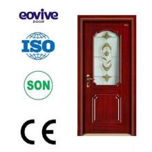 MDF PVC porta de madeira interior com vidro