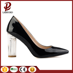 crystal heel balck PU women spring shoes