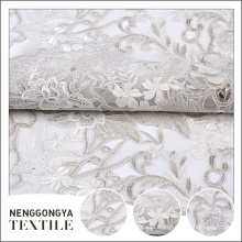 Made in China malha poliéster bordado floral tecido de casamento de tule