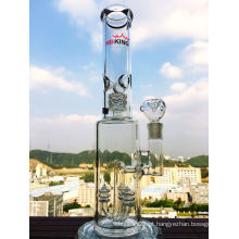 15 polegadas 3 Showerhead Perc Glass Water Pipe