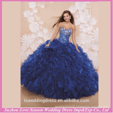 LQ0005 Hot sellining classic big skirt sequins lace up tight corset organza quinceanera dress cheap royal blue quinceanera dress