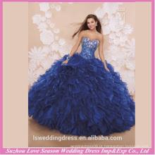 LQ0005 Hot sellining clássico saquetas de saia grande laço até apertado vestido de quinceanera de organza espartilho vestido de quinceanera de Royal Blue barato