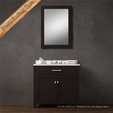 Armário de vaidade de banheiro de madeira sólida de pia simples