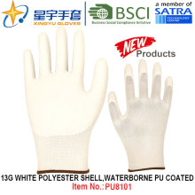 13G Branco Poliéster Shell Waterborne PU Revestido Luvas (PU8101) com CE, En388, En420 luvas de trabalho
