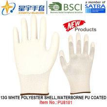 13G Белый полиэстер Shell водонепроницаемый PU покрытием перчатки (PU8101) с CE, En388, En420 рабочие перчатки
