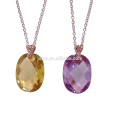 Fashion Simple Long Colorful Faceted Zircon Chain Necklace, Everyday Necklace