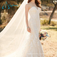 Lace Appliques Sleeveless Cheap Bridal Gown Mermaid Wedding Dresss