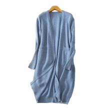 Cashmere coat for women new design long thick overcoats without buttons