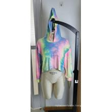 Wholesale Women's Color Tie Dyed Short Hoodie