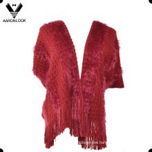 Chal de punto suave de plumas largas para mujeres con mangas cortas