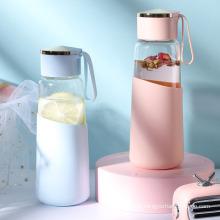 Ins Glass Portable Korean Simple Fresh Cup Girls′ Home Creative Yuansu Water Bottle
