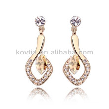 2016 alibaba hanging earrings 18k gold ear earring artificial diamond earrings jewellery