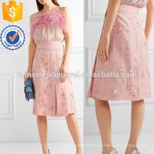 Embelezado Pleate Silk-crepe Wrap Skirt Fabricação Atacado Moda Feminina Vestuário (TA3043S)