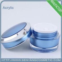 2015 nuevo color azul ronda frascos de embalaje de lujo venta al por mayor acrílico cosméticos envase frasco de crema de acrílico para el cuidado de la piel