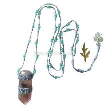 Collar colgante de piedra preciosa de ganchillo verde largo de moda