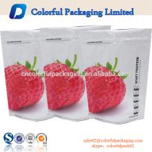 Benutzerdefinierte Farbe Reißverschluss wiederverschließbare Lebensmittelverpackung Tasche glänzend fertig Standbeutel