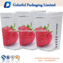 Custom color ziplock resealable food packaging bag shiny finished stand up pouch