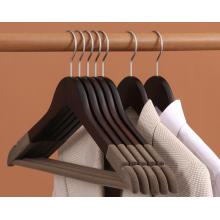 New design luxury wooden clothes hanger coat hanger wholesale anti slip velvet bar