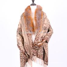 50% de lã fina e caxemira mistura xale com pele de raposa aparada