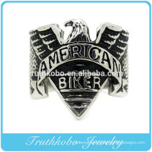 2016 Native popular custom mens black enamel american biker rings in 316l stainless steel