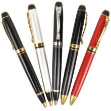 Stylo à bille promotionnel de logo adapté aux besoins du client d'affaires de marque noire, stylo en métal lourd