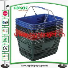 Stapel-Handeinkaufskorb des Supermarkt-Plastiks mit doppelten Draht-Griffen