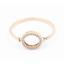 Latest Design Fashion Oval Rose Gold Stainless Steel Bangle with Magnet Locket on Top