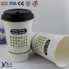 Biodegradável Dupla descartável parede isolada papel café copos