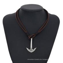 Necklace-00265 XP moda acero inoxidable joyas cuero diseño simple ancla collar para hombres