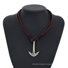 necklace-00265 XP fashion stainless steel jewelry leather simple design anchor necklace for men