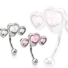 Surgical Steel Triple Heart Design Eyebrow Ring