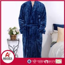 barato sólido suave franela hombres albornoz ropa de dormir