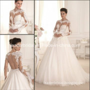 2015 Lace Wedding Gowns White Tulle Lace Bodice Long Sleeves Wedding Dresses Vestido De Noiva Backless A-Line Bridal Wedding Dresses W14904